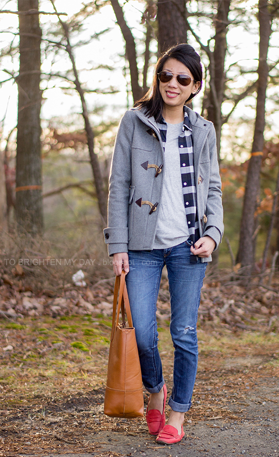 gray toggle coat, plaid shirt, cognac brown tote, red loafers