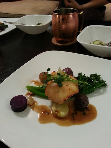 Miso black cod, purple yams, marbled potatoes, pearled onions, broccolini, and pea shoots