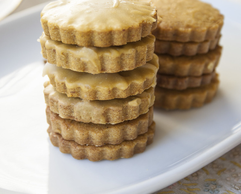 pumpkin shortbread cookies with penuche icing