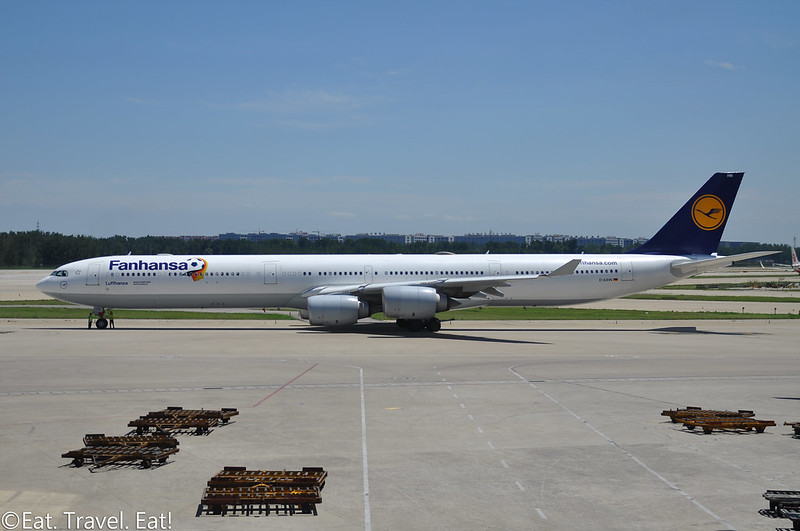 "Lufthansa A340-600 ""Fanhansa"" at Beijing Capital International Airport (PEK)"