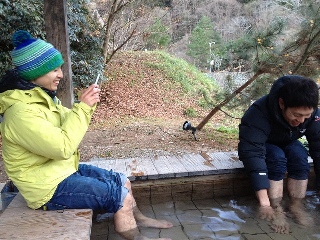 猿達の入浴@武田尾温泉