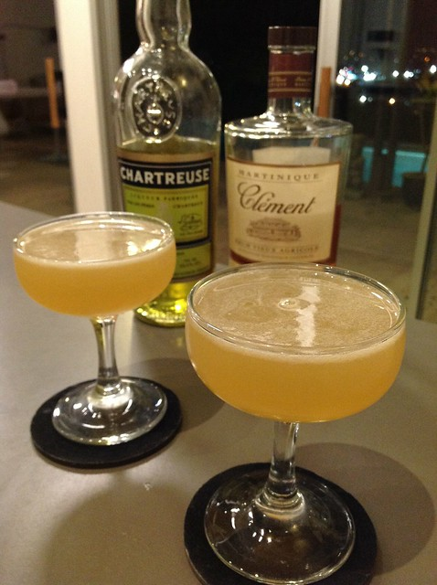 Daisy de Santiago (Charles H Baker Jr) with Clement VSOP rhum agricole, lime juice, yellow Chartreuse, simple syrup