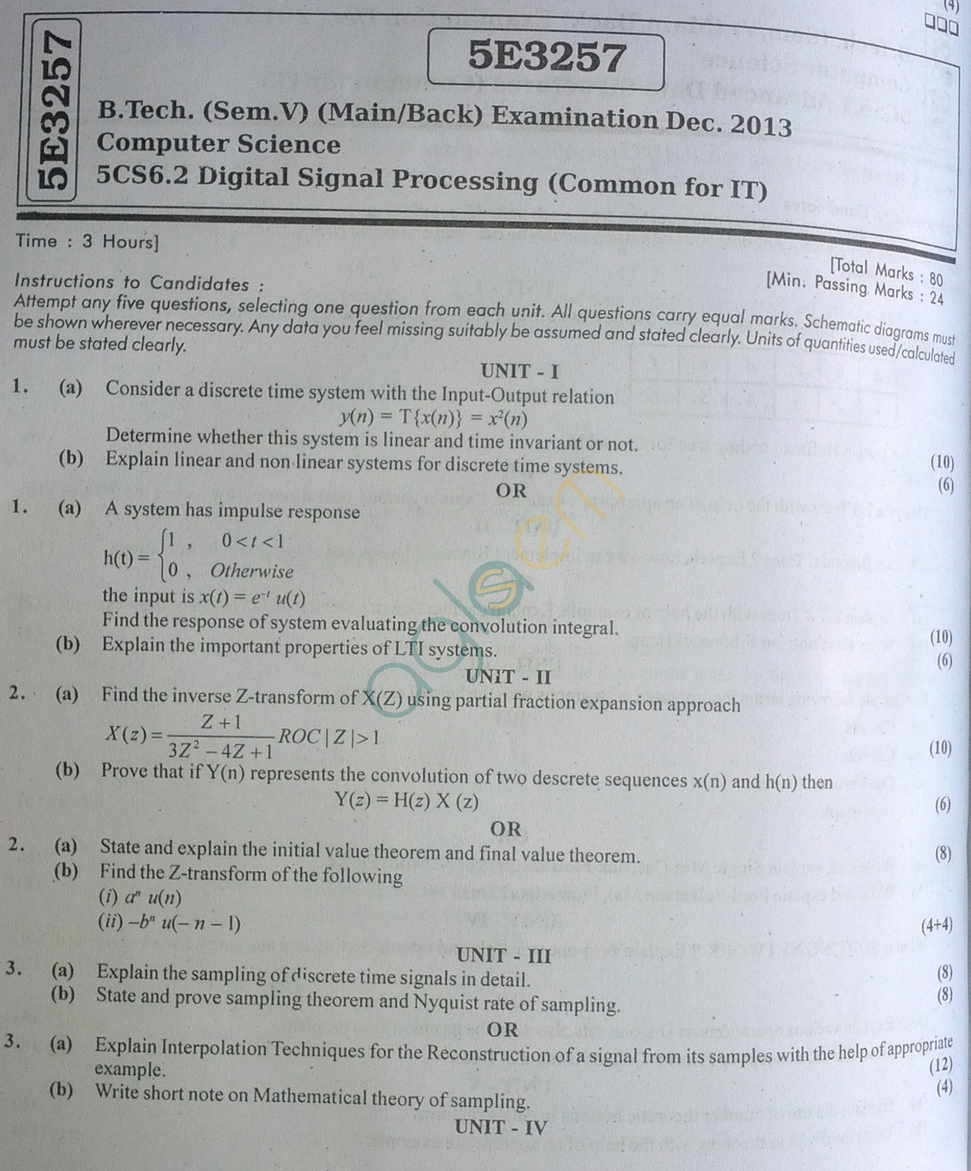 RTU: Question Papers 2013 - 5 Semester - CS - 5E3257