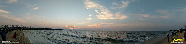 Panoramic view of the sunset on an evening in Panambur Beach, Mangalore, Mangaluru, Dakshina Kannada, Karnataka, India
