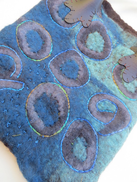Brown and blue felted purse