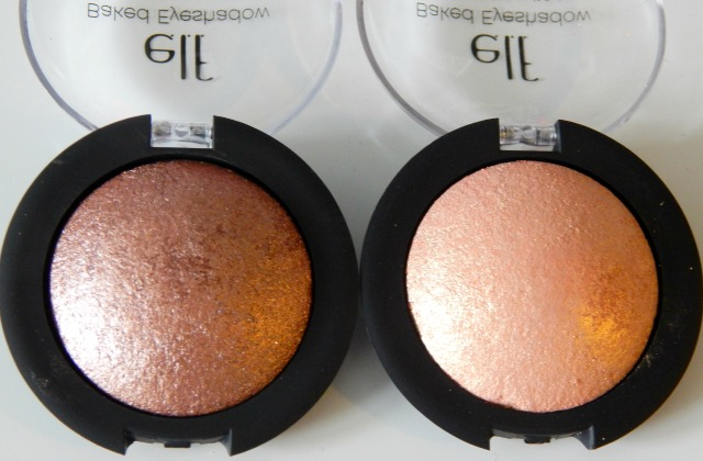 elf Baked Eyeshadows in Toasted and Enchanted, review and swatches