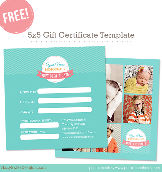Free Gift Card Template for Photographers Photoshop www.hazyskiesdesigns.com