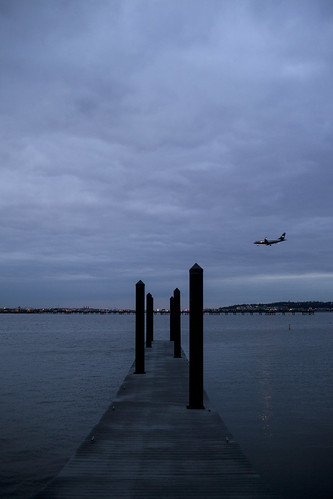 city morning winter water marina sunrise airplane lights virginia pier airport dock overcast potomac potomacriver reagannationalairport