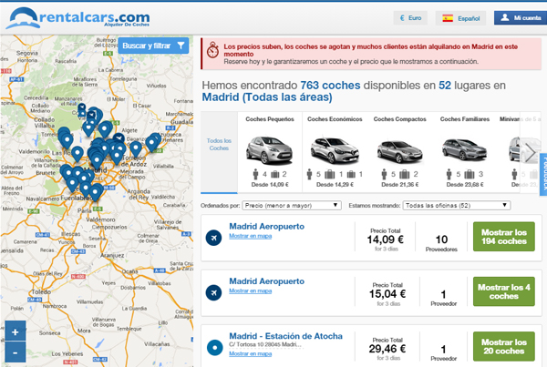 Listado de coches de alquiler baratos