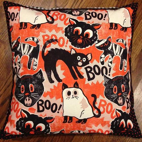 Spooktacular cat pillow