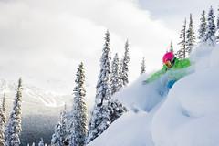 Skiing fresh lines on Whistler Mountain
