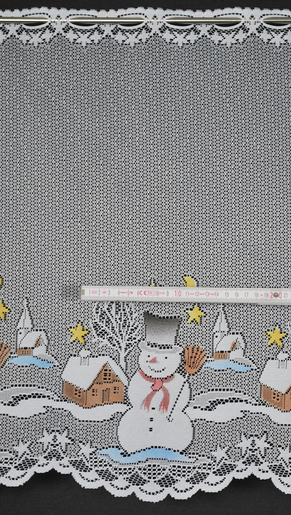 Scheibengardine weihnachten schneemann 50x156 wei mit for Scheibengardine weihnachten