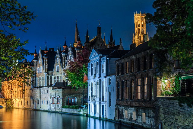 Brugge, Belgium in the evening