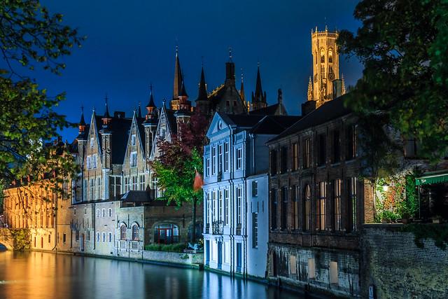 Brugge, Belgium in the evening