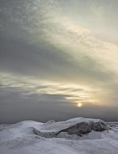 winter sunset lake snow ontario canada ice clouds bayfield snowbird 2014