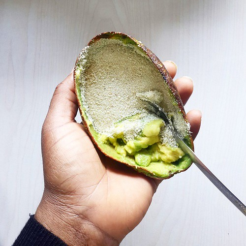 My dessert - #avocado and #garriijebu.  Yes o... my dessert.  This is a food combo I love. Love. Love. Creamy texture and sour crunch. Match of the gods. Can I get an Amen?  Another favourite of mine? White rice, tomato stew with avocado. Or bananas. Or p