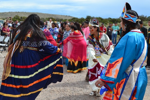 Hualapai Bird Dancers perform at the ribbon cutting ceremony for the Diamond Bar Road. (USDA Photo)
