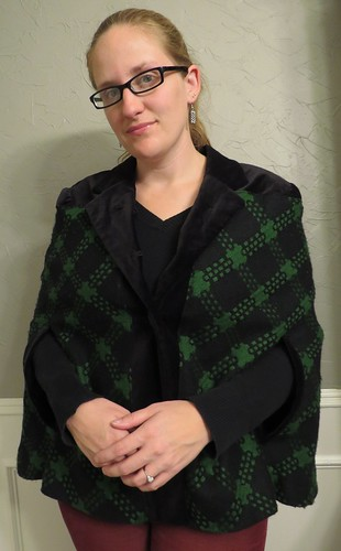 Green Plaid Cape - After