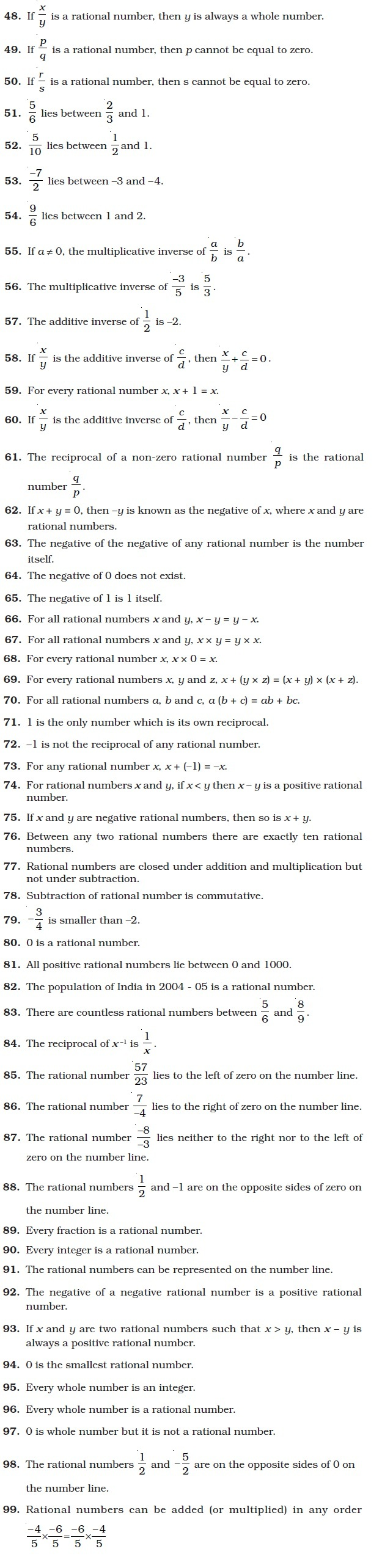 Class 8 Important Questions for Maths – Rational Numbers