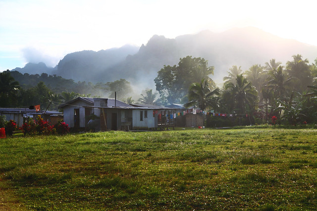 Sun heats the misty mountains (Nakavika, Fiji)