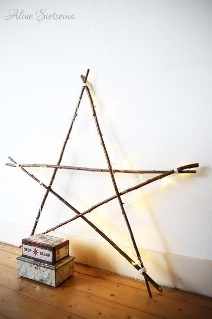 kerst zelfmaakidee XXL ster van takken brocantepost