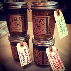 I started making small batch jams, preserves & chutneys @TelasMarket! Strawberry Vin Cotto Marmalata, Mela Pera Mostarda, Apple Pear Chutney, & Blueberry Ginger Jam  #foodie #canning #adventure #JamLife #local #handmade #holidays #whyilovephilly