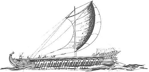 Depiction of a trireme, an ancient Greek vessel, from book Ancient and Medieval Warfare