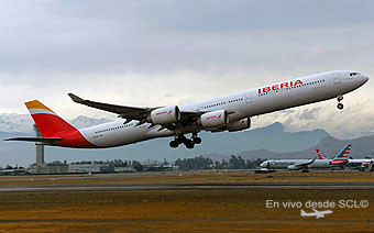 Iberia A340-600 new colors take off (R. Vildósola)