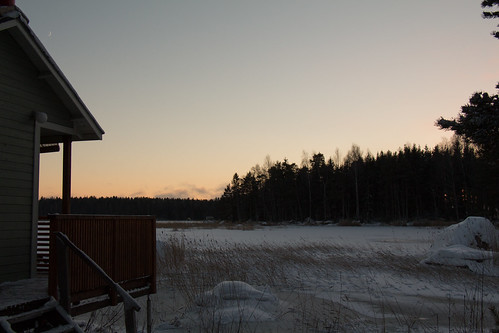 winter snow suomi finland wooden view terrace dusk crescentmoon kotka frozensea pyhtää kymenlaakso