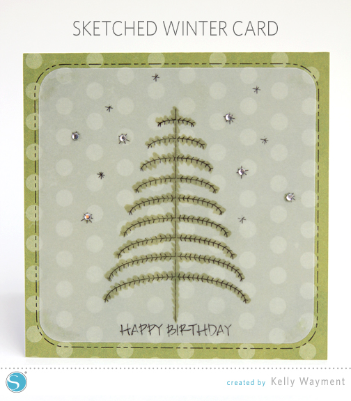 Sketched Winter Tree Card by Kelly Wayment for Silhouette