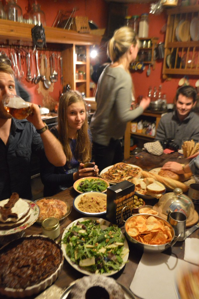 This is a photo of a country kitchen with lots of food