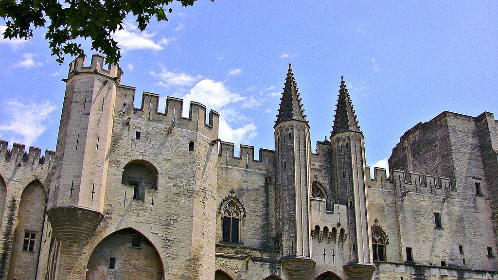 , FRANCE - Provence, Avignon, Blick auf den Papst-Palast,  Fassade-Eingang, 12348/4609