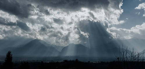 light sky mountains field curtain dramatic