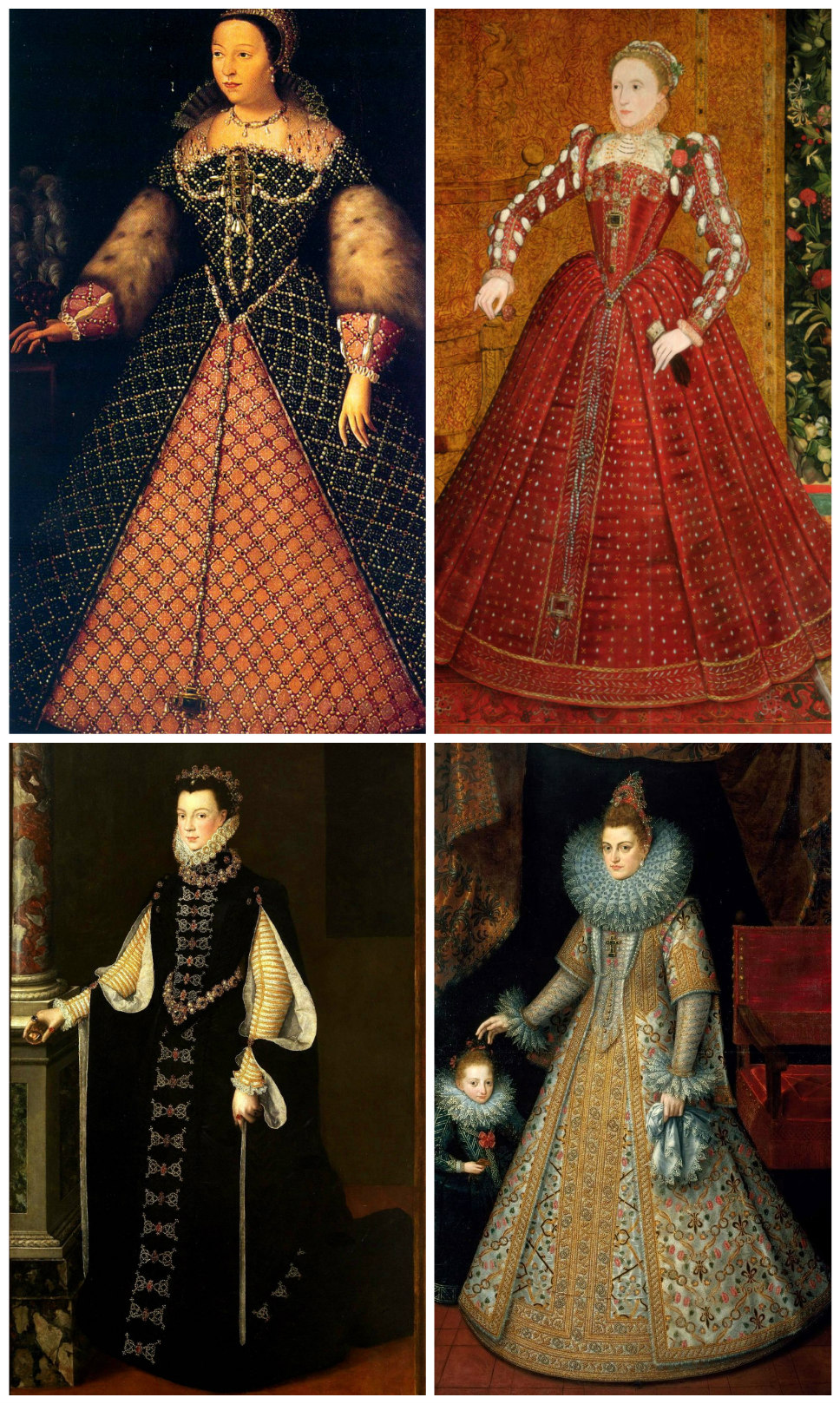Spanish farthingale. Clockwise from top left: Catherin de Medici, c. 1555; Queen Elizabeth I of England, c. 1563; Elizabeth of Valois, Queen of Spain, 1565; Isabella of the Spanish Netherlands, 1599