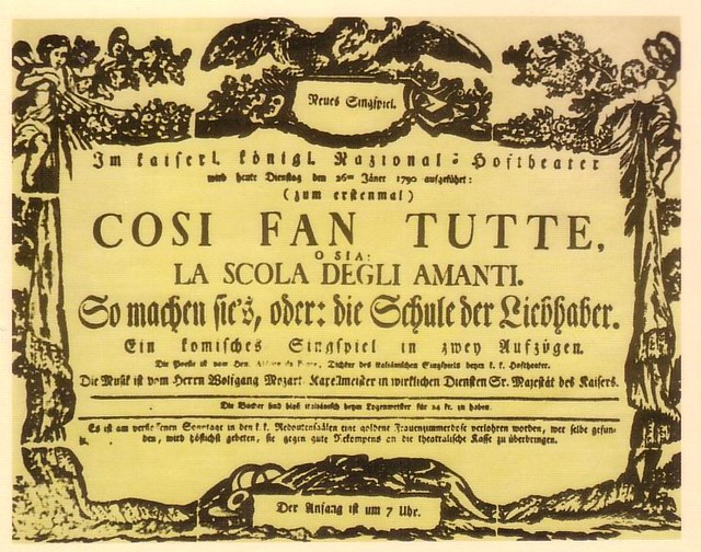 Poster for the first performance of Così fan tutte [Public domain]