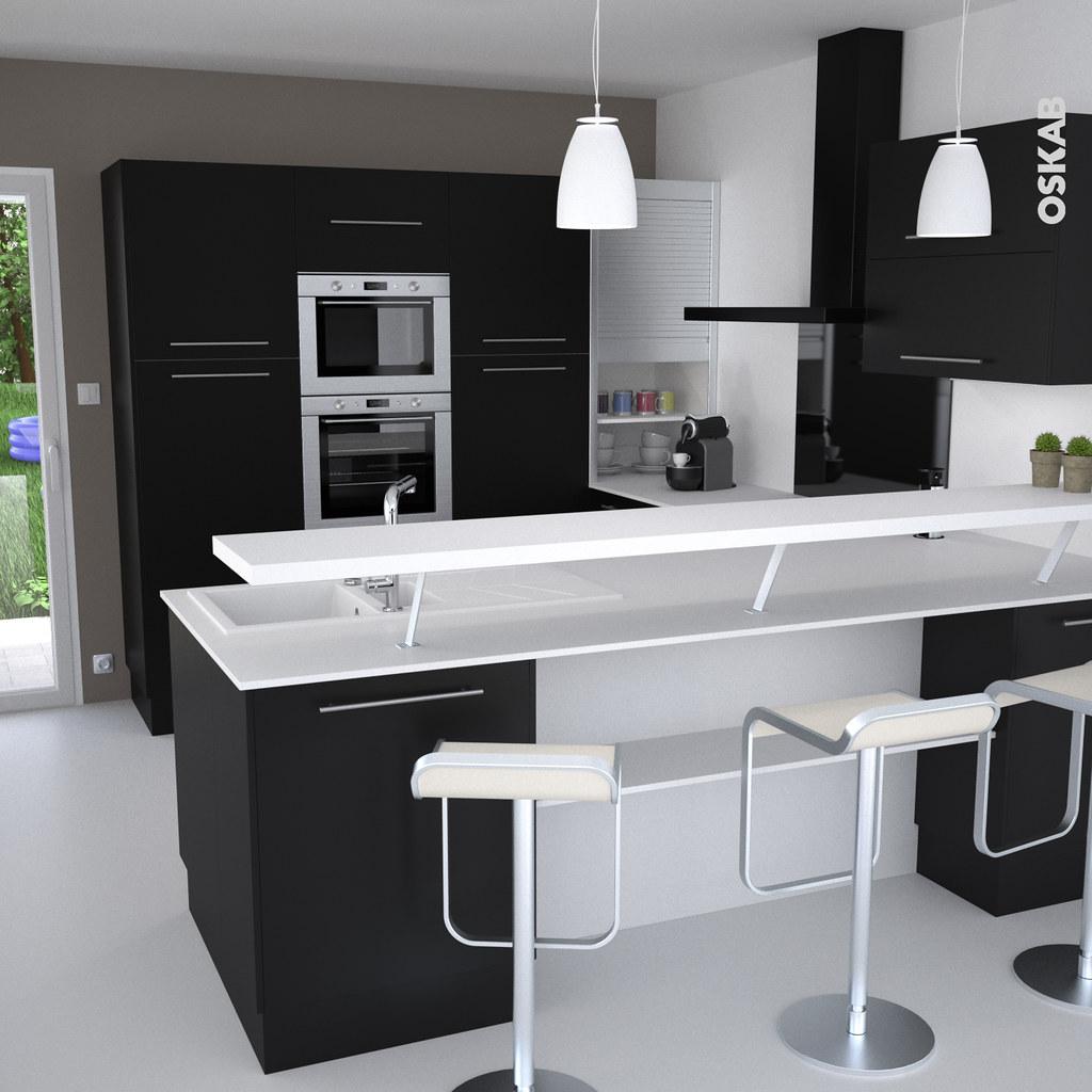 cuisine noir et blanche ouverte en u sur le sjour oskab - Cuisine En U Plan