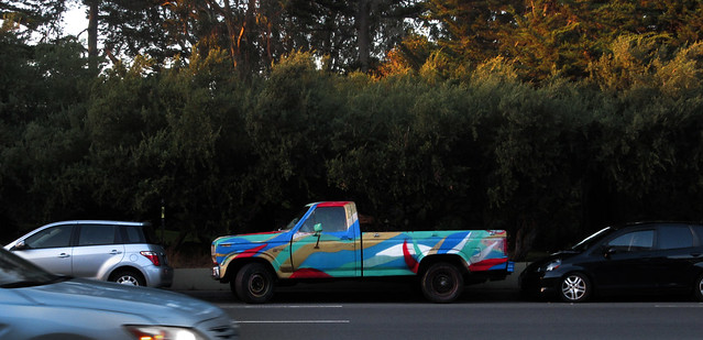 multicolored (painted) pick-up truck; Kezar Drive, San Francisco (2014)