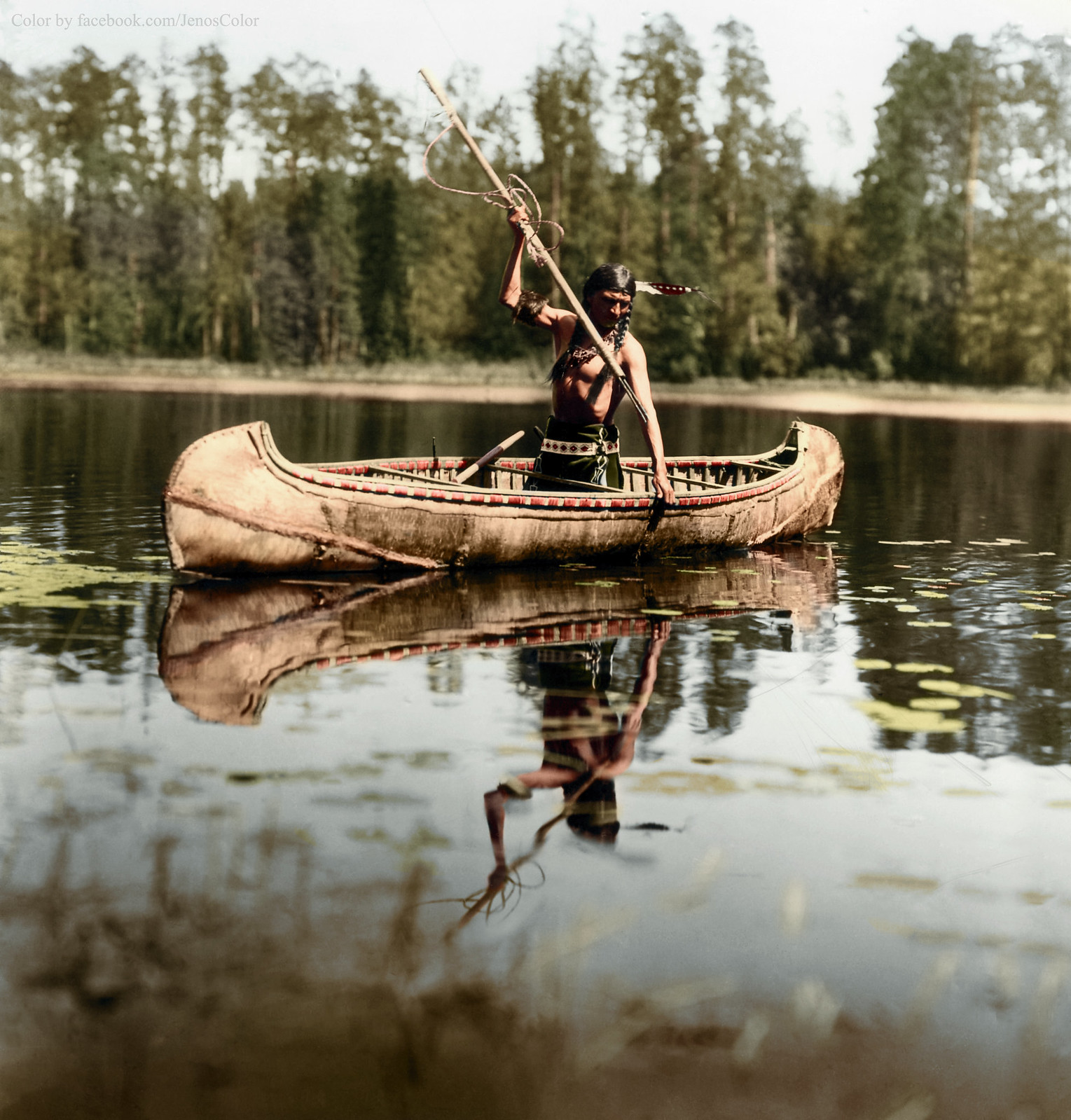 An Ojibwe Native American spearfishing, Minnesota, 1908 ...