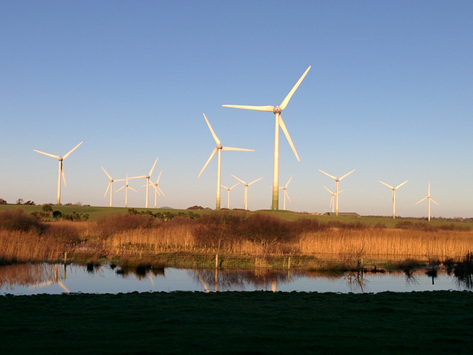 Wind turbines in County Wexford Ireland.