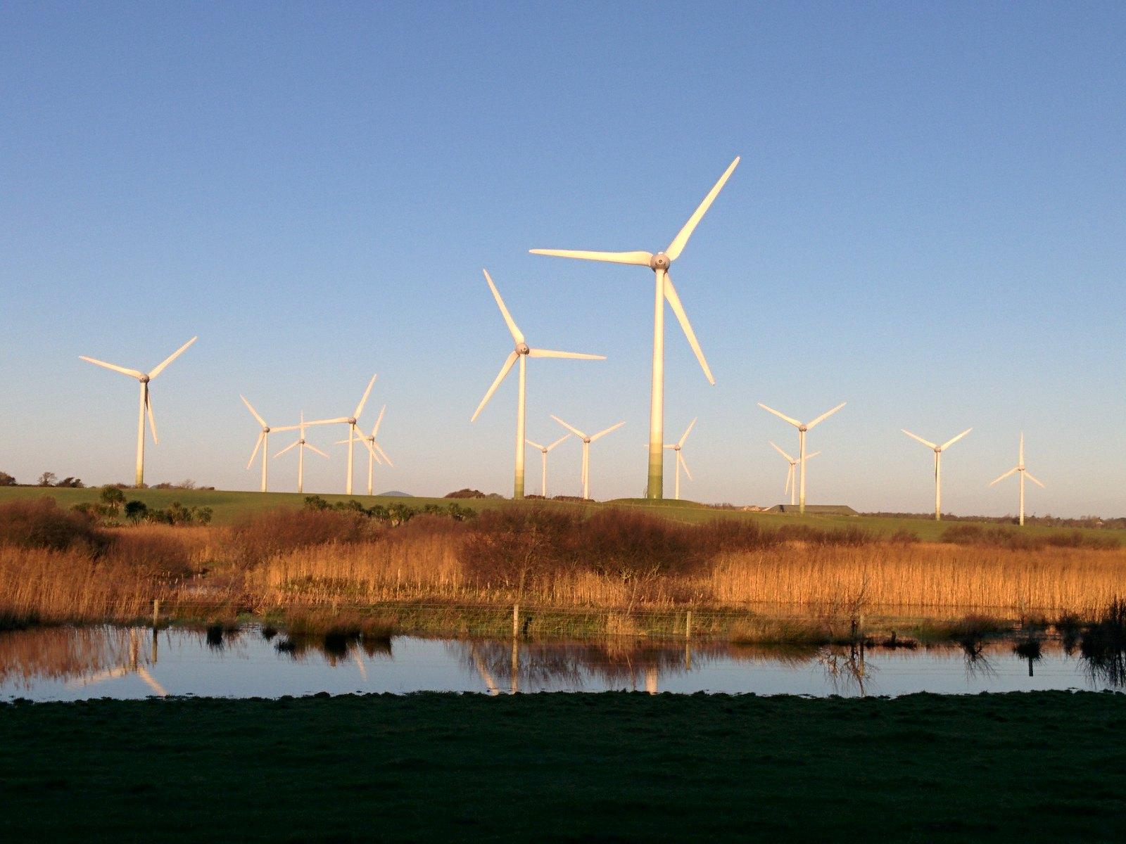 Wind turbines in County Wexford Ireland.
