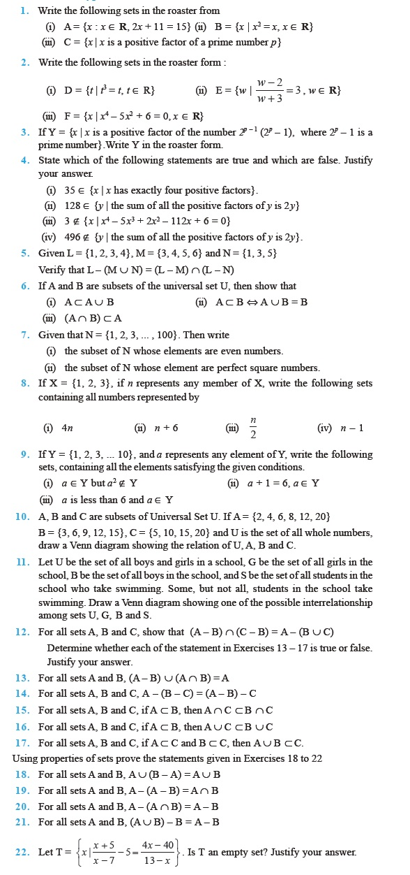Class 11 Important Questions for Maths – Sets – AglaSem Schools