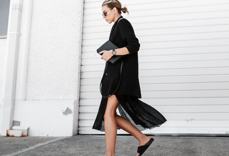 MODERN LEGACY Celine slide sandals all black street style pleated sheer split skirt Bassike tank fashion blog Australia (9 of 13)