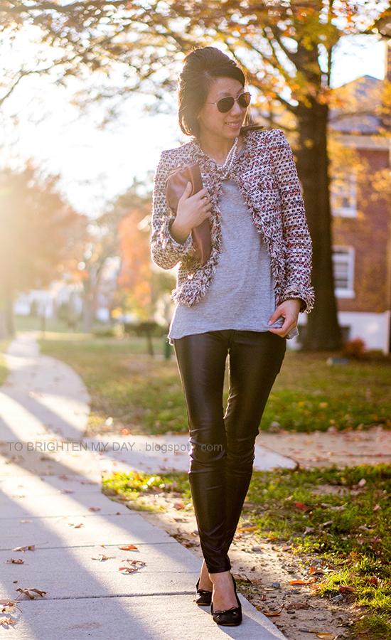 tweed jacket, mixed metal necklace, black faux leather pants, pink metallic clutch