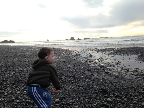 Throwing Rocks at Ruby Beach