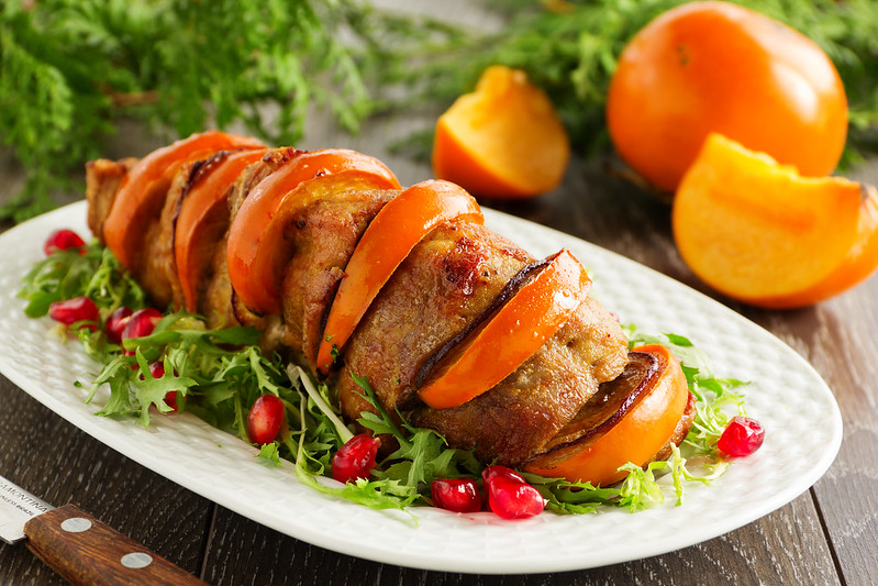 Pork baked with persimmons.