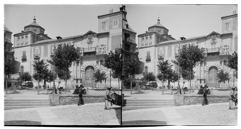 Plaza del Ayuntamiento y Palacio Arzobispal hacia 1900. Fotografía de Alois Beer © Österreichische Nationalbibliothek