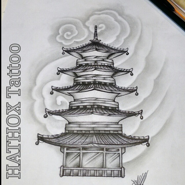 estudos templo oriental temple pagoda faith illustration ilustra o drawing draw. Black Bedroom Furniture Sets. Home Design Ideas