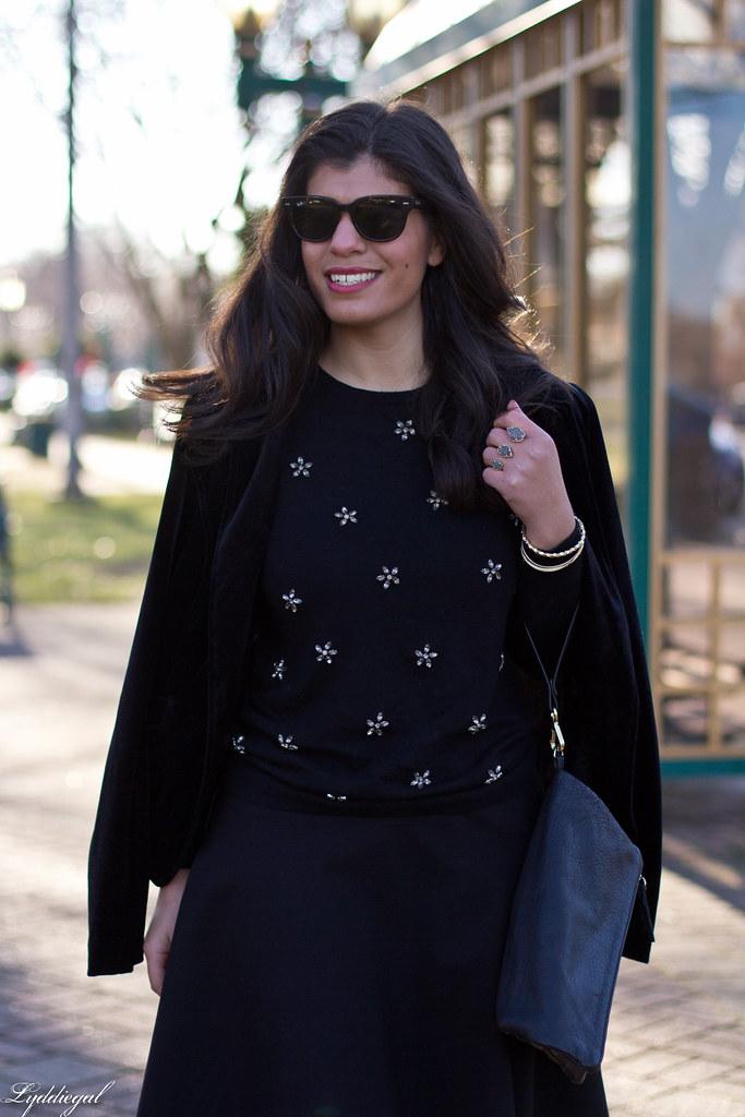 Black bejeweled sweater, velvet blazer, skirt, trainers.jpg