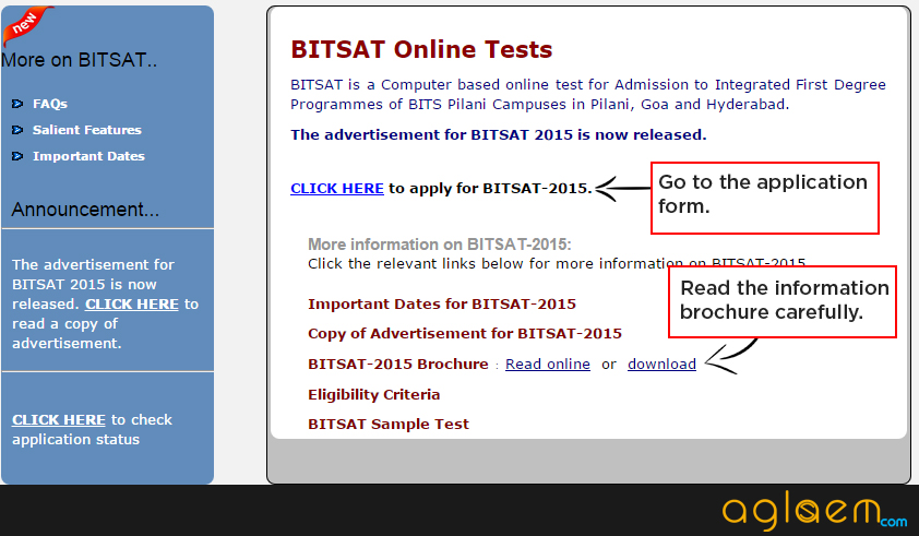 How to fill BITSAT 2015 Application Form