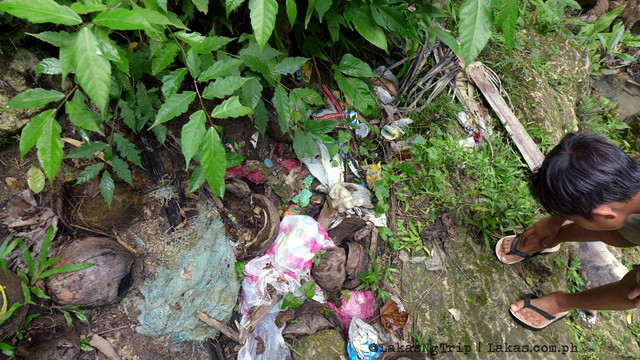 Trash around the area of Pampam Falls in Iligan City, Philippines.